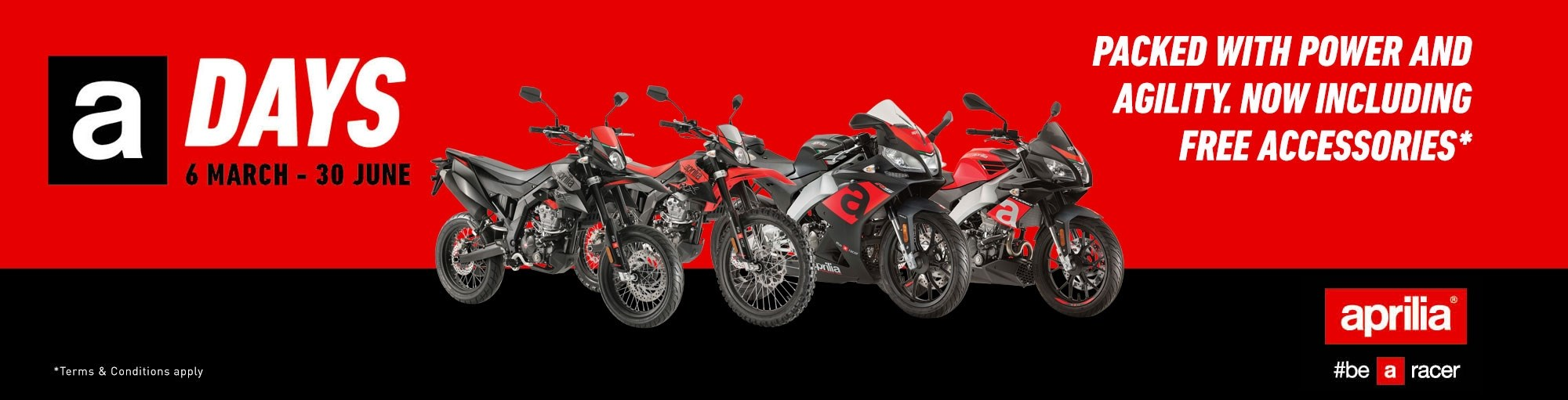 Free helmet and gloves with RS 125, Tuono 125, RX 125 or SX 125 models